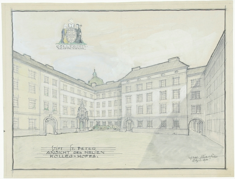 Design for the new building of the Collegiate Abbey of St. Peter in Salzburg, view of the new collegiate courtyard, Eduard Hütter, 1924, inv. no. AR 028 a-2012