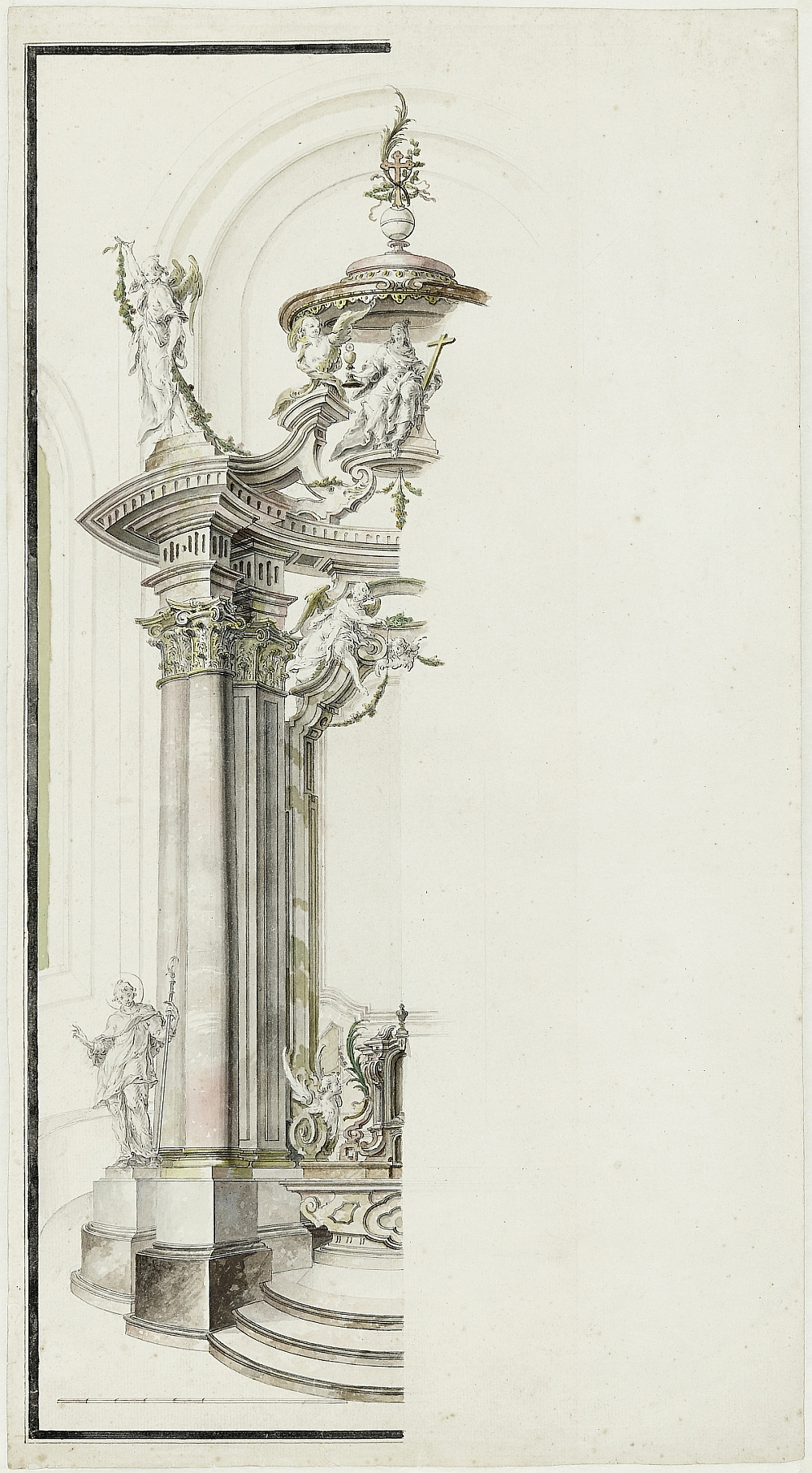 Altar Construction, Joseph Anton Feuchtmayer, Franz Anton Dirr, pen and ink over lead stylus, watercolour, inv. no. RO 1093; no known execution