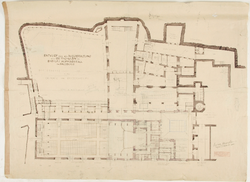 Design for the building of a festival theatre in the former princely archiepiscopal Hofmarstall (stables), ground plan of ground floor, Eduard Hütter, 1924, pen and ink, watercolour on paper, inv. no. AR 057 ah-2012