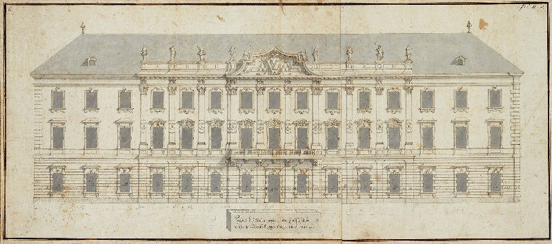 Elevation of the garden façade of Mirabell Palace, Johann Lukas von Hildebrandt, 1722, pen and brown ink, grey wash, on wired paper, inv. no. 13233-49