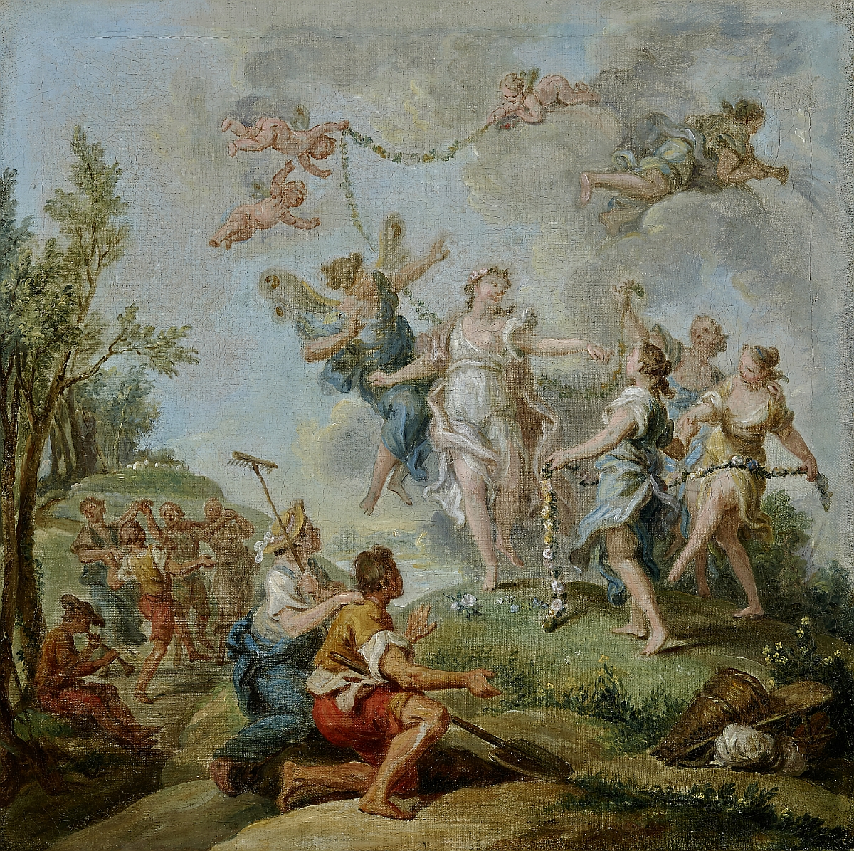Zephyr and Flora, design for a tapestry, Charles Philippe Amédée Van Loo (Vanloo), oil on canvas, inv. no. RO 0047; execution as oil painting in Fontainebleau