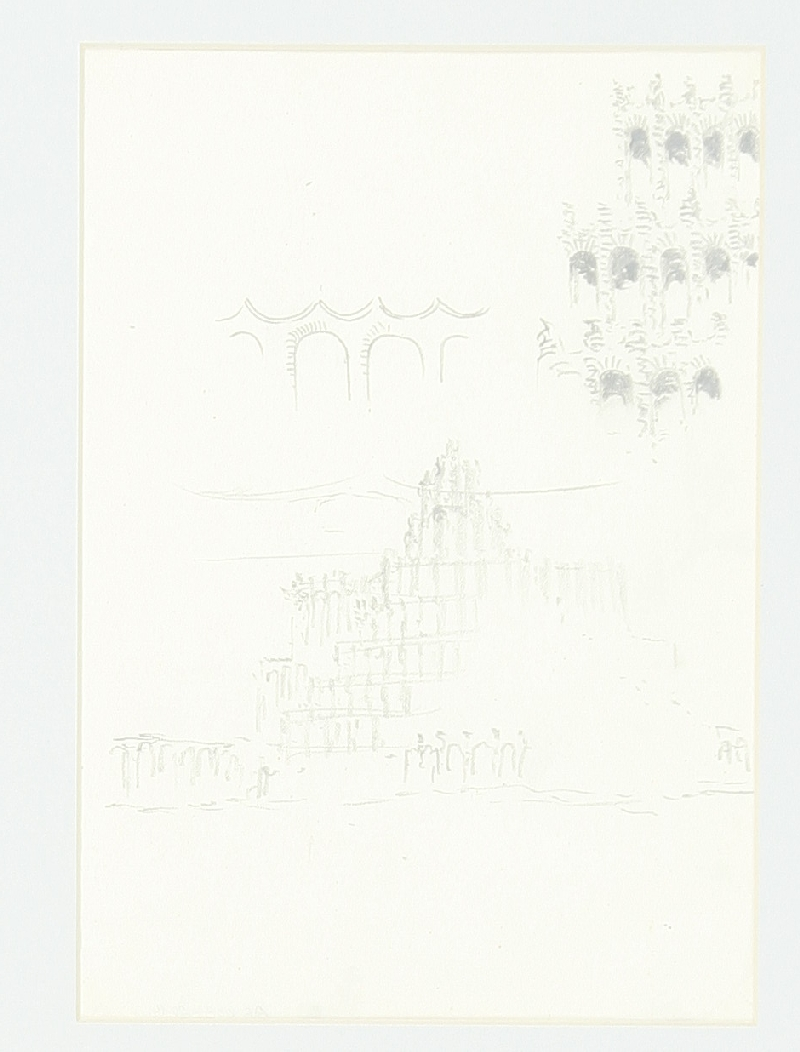 Design for the festival theatre project in Salzburg-Hellbrunn: tower-like main building and two façade studies, Hans Poelzig, pencil and charcoal on sketching paper/Pergamin transparent paper, inv. no. AR 003-2014